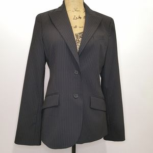 BCBGMAXAZRIA Black Pinstripe Button Down Blazer